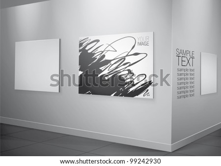 White gallery interior with lighting frames on wall - stock vector