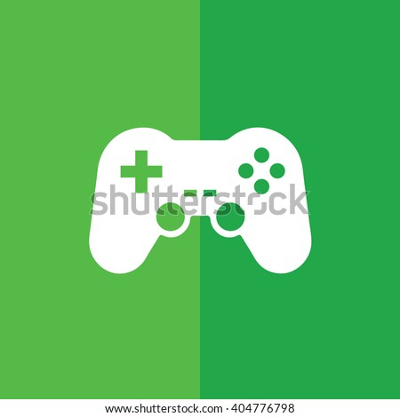White game controller icon vector illustration. Green background - stock vector