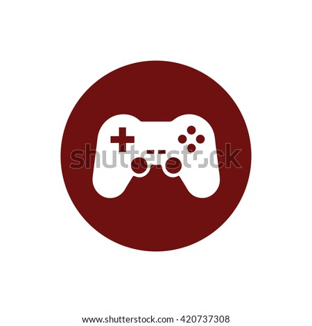 White game controller icon vector illustration. Red circle. Red button - stock vector