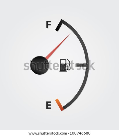 white gas full meter board - stock vector