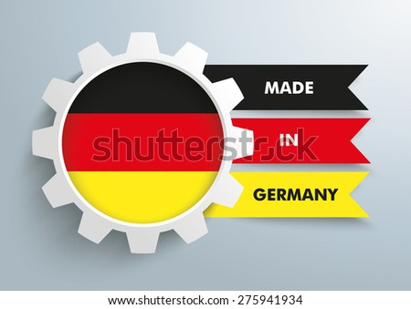 White gear with german national flag. Eps 10 vector fie.