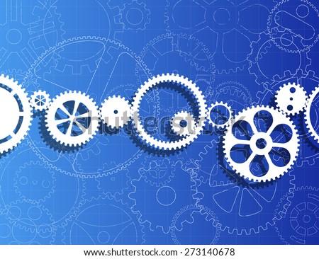 White gears against gear wheels blueprint background - stock vector