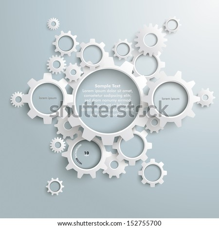 White gears with on the grey background. Eps 10 vector file. - stock vector