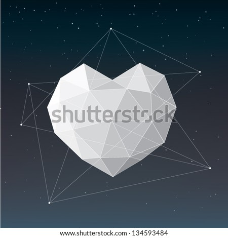 White geometric heart background - stock vector