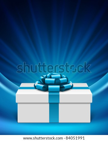 White gift box with blue ribbon and light. Vector background eps 10. - stock vector