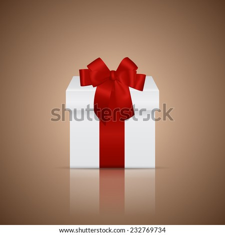 White gift box with red ribbon and bow on a glossy surface. Vector illustration - stock vector
