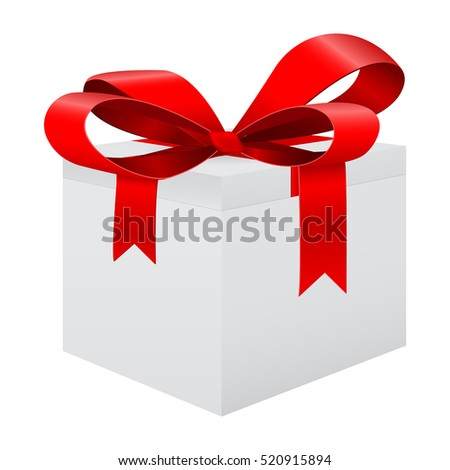 White gift box with red ribbon. Vector illustration isolated on white background