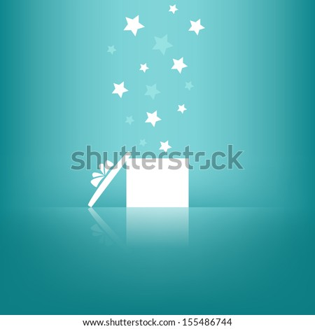 White gift box with stars on blue background. Vector version. - stock vector