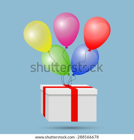 White gift box wrapped in red tape, with colored balloons on a rope - stock vector