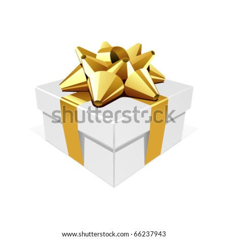 White gift with gold bow vector illustration
