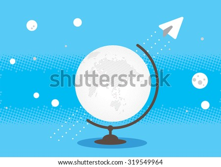white globe earth with paper airplane line concept illustration background vector - stock vector