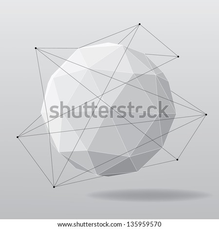 White globe geometrical background. Vector illustration - stock vector