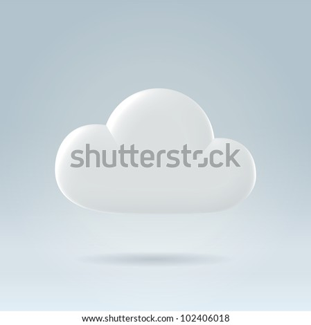 White glossy plastic digital cloud concept illustration - stock vector