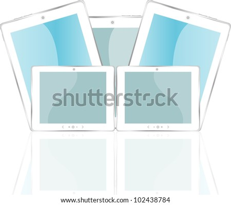 white glossy tablet pc isolated on white reflective background