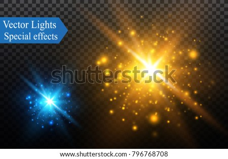 White glowing light burst explosion on transparent background. Vector illustration light effect decoration with ray. Bright star. Translucent shine sun, bright flare.Center vibrant flash.star and sun