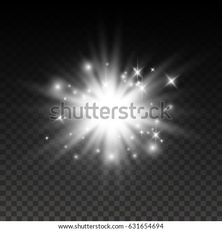 White glowing light burst explosion transparent. Vector illustration