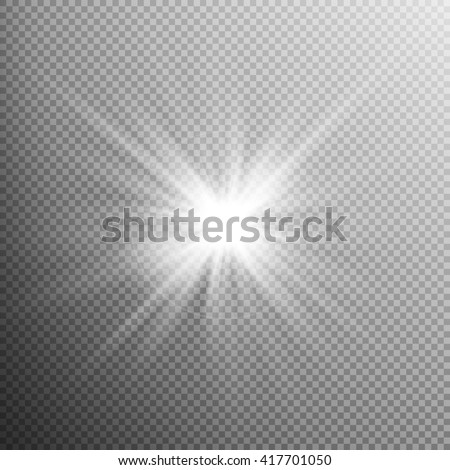 White glowing light burst explosion with transparent. Cool effect decoration with ray sparkles. Transparent shine gradient glitter, bright flare. Glare texture. EPS 10 vector file included - stock vector