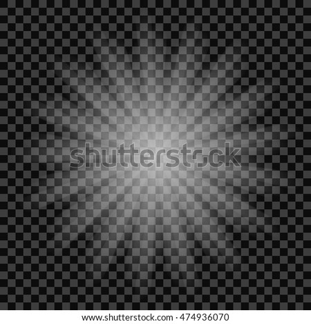 White glowing light with ray sparkles burst explosion with transparent, EPS10 Vector Illustration.