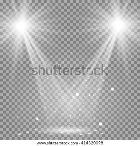 White glowing transparent disco lights background. Vector disco lights background illustration. Transparent shine lights background. Bright lighting effect disco lights. Realistic studio illumination. - stock vector