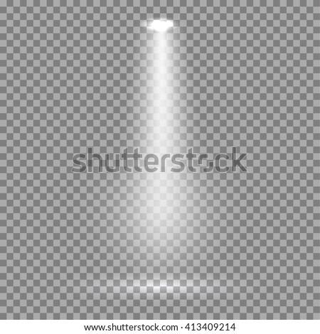 White glowing transparent spotlight background. Vector spotlight background illustration.  Transparent shine spotlight background. Bright lighting effect spotlights. Realistic studio illumination. - stock vector