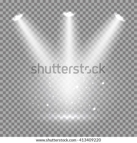 White glowing transparent spotlight background. Vector spotlight background illustration.  Transparent shine spotlight background. Bright lighting effect spotlights. Realistic studio illumination. - stock vector