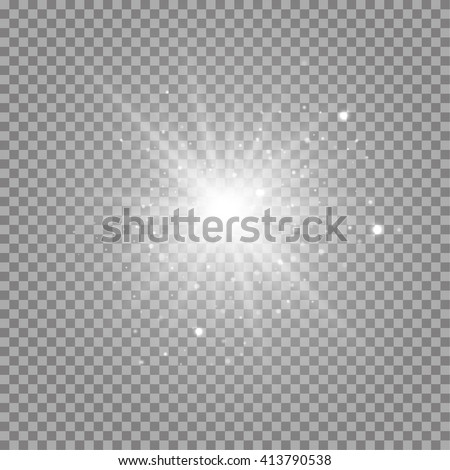 White glowing transparent sunlight background. Vector sunlight background illustration. Transparent shine sunlight background. Bright lighting effect sunlight. Realistic bright star with ray sparkles. - stock vector