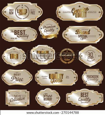 White gold framed labels - stock vector