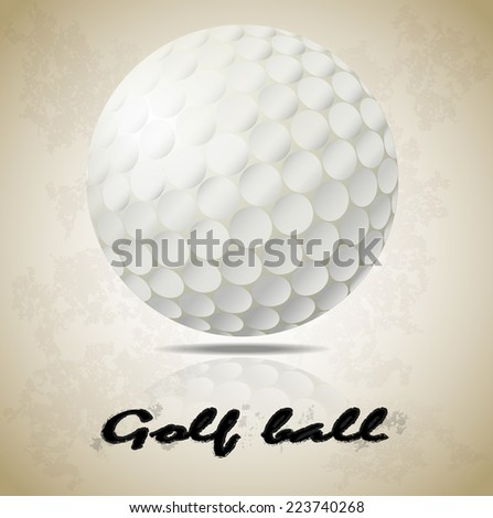 "White golf ball on old paper art vector pattern background with shadow and reflection and black ""golf ball"" word (EPS10 separate part by part) - stock vector"
