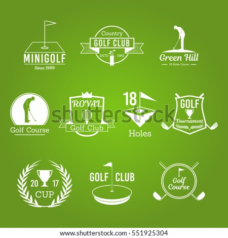 White Golf Club Vector Badges Set of Logos