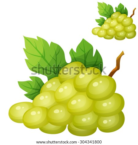 White grape. Cartoon vector icon isolated on white background. Series of food and drink and ingredients for cooking. - stock vector