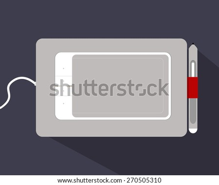 White Graphic Tablet on a Black Background. Vector illustration. Light Graphic Tablet the necessary tool for creative people. Vector graphic tablet icon. Tablet with red fasteners. - stock vector