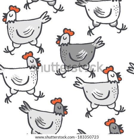 White gray hens run animals wildlife seamless pattern on white background