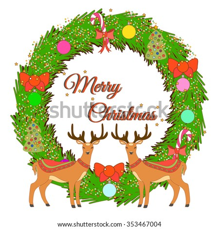 White Greeting card with Christmas wreath and cute deers. Vector illustration.