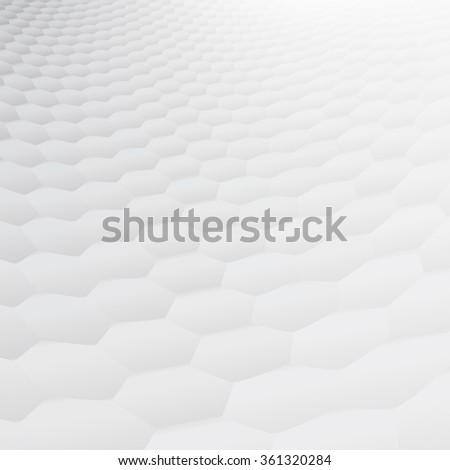 White & grey abstract perspective background with soft toned hexagonal shapes - stock vector