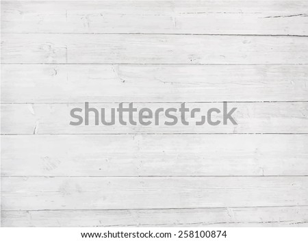 White, grey wooden wall texture, old painted pine planks - stock vector