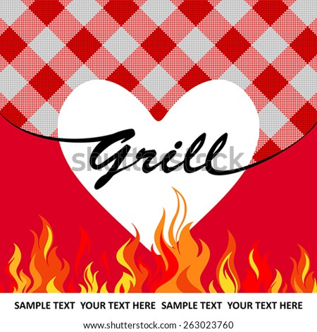 White grill heart on red striped background with flames - stock vector