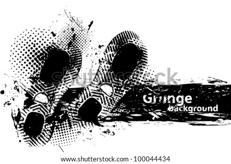 White grunge background with two black footprint - stock vector