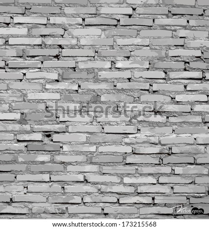 White grunge brick wall background. Vector illustration. - stock vector