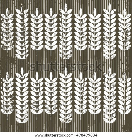 white grunge wheat seamless pattern on dark brown
