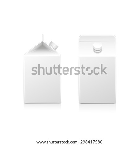 White half-liter cardboard brick package for diary products, juice or beverage. Packaging collection.  Vector illustration. - stock vector