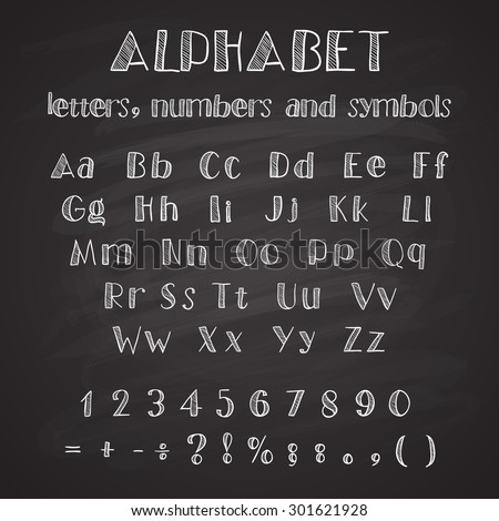 White hand drawn alphabet on black background, available all letters, numbers and  symbols - stock vector