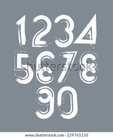 White handwritten numbers, vector doodle brushed figures, hand-painted set of numbers with brushstrokes. - stock vector