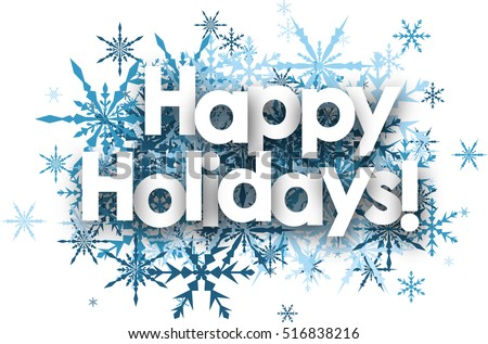White Happy Holidays Background With Blue Snowflakes Vector Illustration
