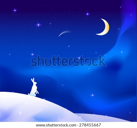 white hare on the snowdrift  look up the night sky with moon an falling star, winter fariytale, vector.
