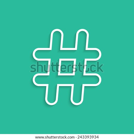 white hashtag icon isolated on green background. concept of social media, microblogging and simple number sign. trendy modern design eps10 vector illustration - stock vector