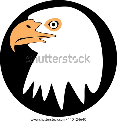 White head eagle on a black background. Vector - stock vector