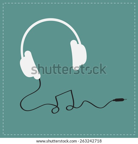 White headphones icon with black cord in shape of note Music background card. Flat design  Vector illustration. - stock vector