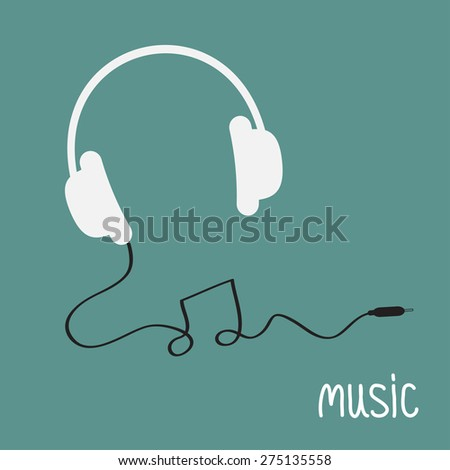 White headphones with black cord in shape of note word Music background card. Flat design  Vector illustration. - stock vector