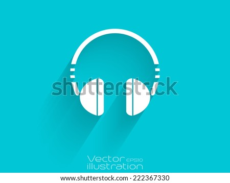 White headset icon on blue background - EPS10 - stock vector