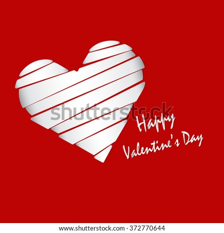 white heart and white happy valentines day texts on red background